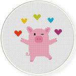 Piggie Juggler Cross Stitch Illustration