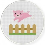 Piggy over the Fence Cross Stitch Illustration