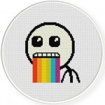 Puking Rainbows Cross Stitch Illustration