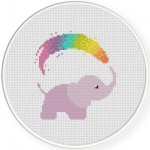 Rainbow Shower Cross Stitch Illustration