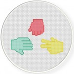 Rock Paper Scissors Cross Stitch Illustration