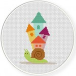 Snail VIllage Cross Stitch Illustration