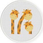 Three Giraffes Cross Stitch Illustration