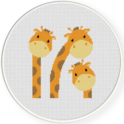 Three Giraffes Cross Stitch Illustration