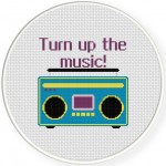 Turn Up The Music Cross Stitch Illustration