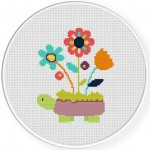 Turtle Planter Cross Stitch Illustration