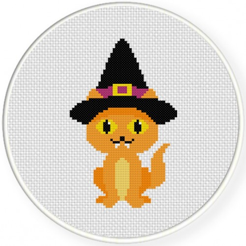 Witch Kitty Cross Stitch Illustration