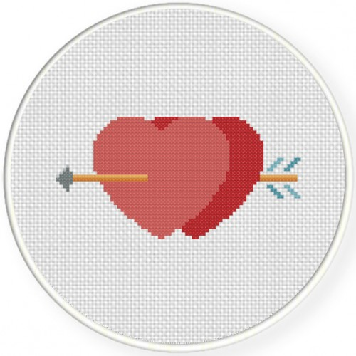 Arrow Hearts Cross Stitch Illustration