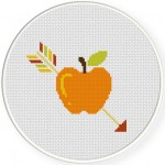Arrow on Apple Cross Stitch Illustration