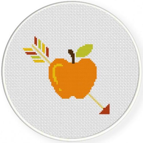 Arrow on Apple Cross Stitch Illustration