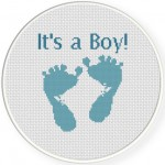 Baby Boy Feet Cross Stitch Illustration