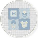 Baby Boy Quilt Cross Stitch Illustration
