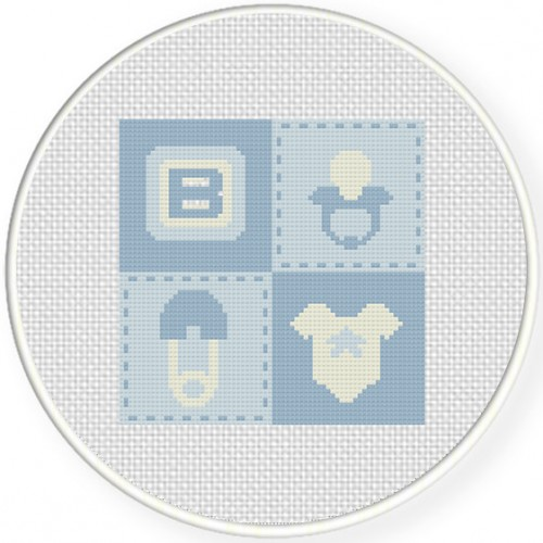 Baby Boy Quilt Cross Stitch Illustration
