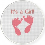 Baby Girl Feet Cross Stitch Illustration