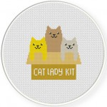 Cat Lady Kit Cross Stitch Illustration