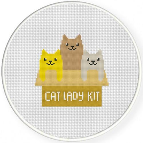 Cat Lady Kit Cross Stitch Illustration