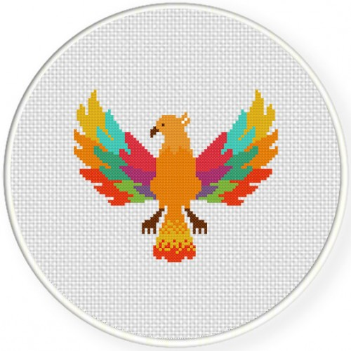 Colorful Phoenix Cross Stitch Illustration