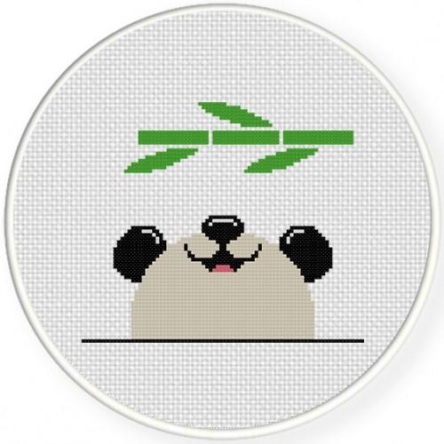 Cute Panda Cross Stitch Illustration