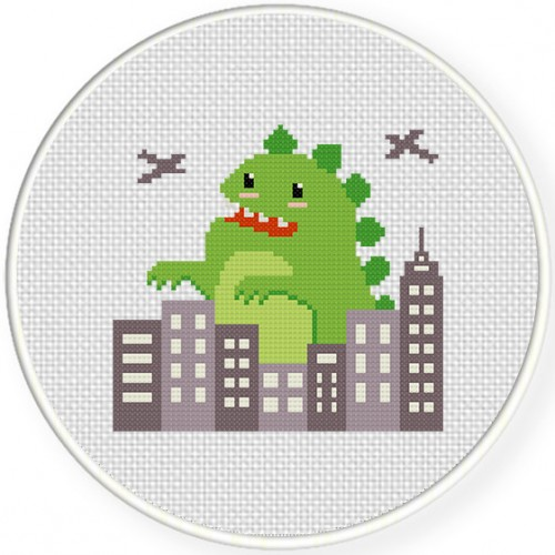 Cute-zilla Cross Stitch Illustration
