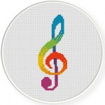 G Clef Cross Stitch Illustration