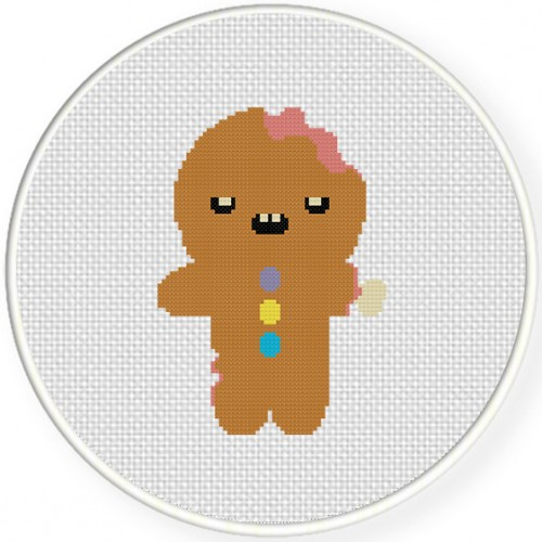 Gingerbread Zombie Cross Stitch Illustration
