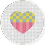 Heart Checkered PatternCross Stitch Illustration