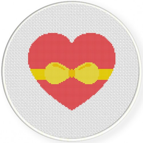 Heart With Ribbon Cross Stitch Illustration