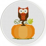 Pumpkin Owl Cross Stitch Illustration