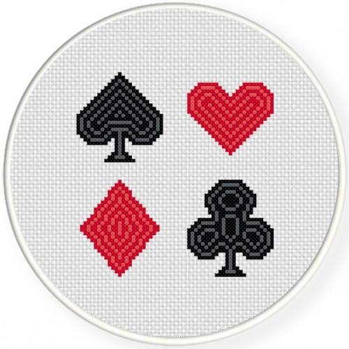 Spade-Heart-Diamond-Club Cross Stitch Illustration