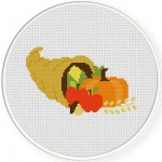 Thanksgivingl Curnocopia Cross Stitch Illustration