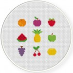 Tiny Fruits Cross Stitch Illustration
