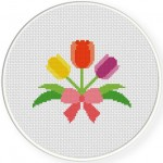 Tulips in Ribbon Cross Stitch Illustration