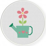 Watering Can Flower Cross Stitch Illustration