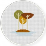 Autumn Tree Island Cross Stitch Illustration