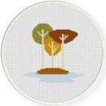 Autumn Tree Island Cross Stitch Illustration