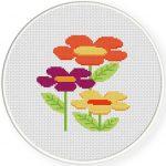Big Flat Flowers Cross Stitch Illustration