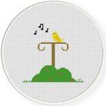 Bird Stand Cross Stitch Illustration