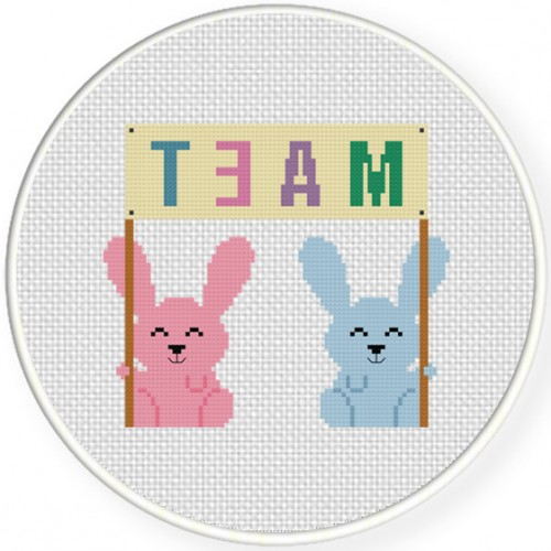 Bunny Team Cross Stitch Illustration