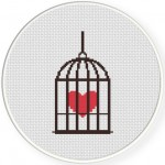 Caged Heart Cross Stitch Illustration