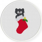 Cat In A Stocking Cross Stitch Illustration