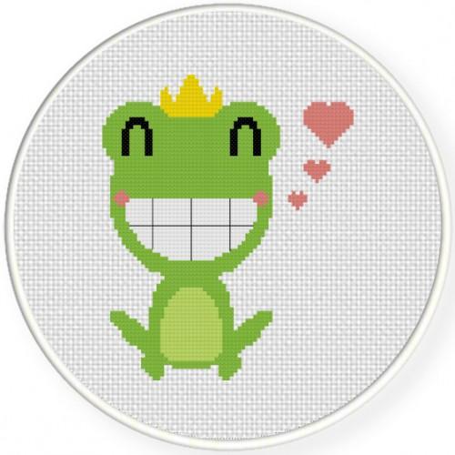 Frog Prince Cross Stitch Illustration