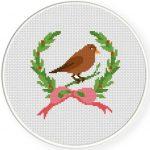 Laurel Bird Cross Stitch Illustration