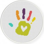 Love Hand Print Cross Stitch Illustration