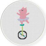 Piggy on Unicycle Cross Stitch Illustration