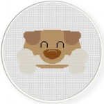 Puppy Bone Cross Stitch Illustration