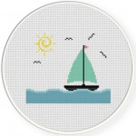 Sailboat Sunny Cross Stitch Illustration
