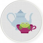 Teacup Frog Cross Stitch Illustration
