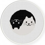 Yin Yang Cat Cross Stitch Illustration