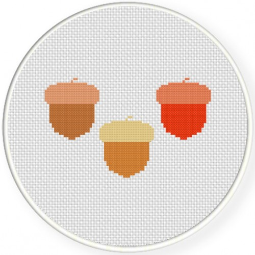 Acorns Cross Stitch Illustration