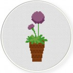 Allium Flower Cross Stitch Illustration